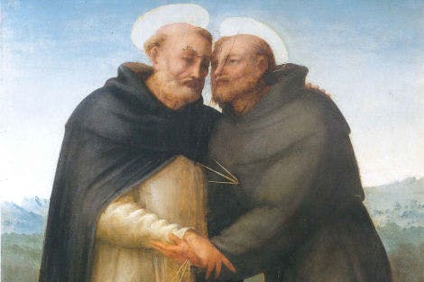 The two saints are shown embracing, with holy rays emanating from St Frances' stigmata, which miraculously appeared two years before his death. Bartolomeo was an Italian  Renaissance painter of religious subjects who became a Dominician monk in 1500. A friend of Raphael, the two developed additional skills in perspective and colouring from one another.