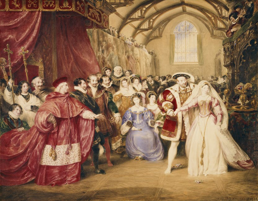 Henry VIII at York Palace with Anne Boleyn by his side and courtiers to his left inside York Palace.