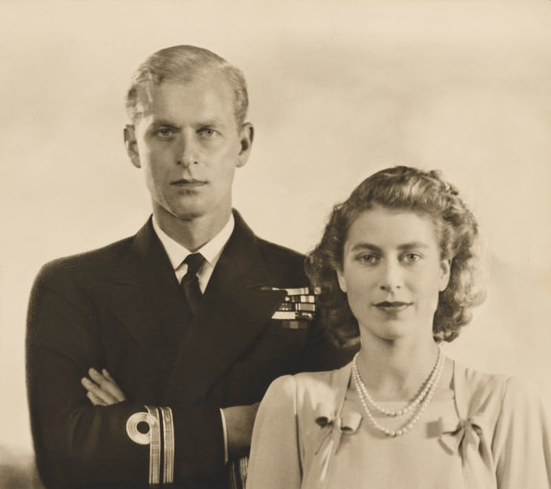 Photograph of Prince Philip, Duke of Edinburgh; Queen Elizabeth II on the occasion of their engagement