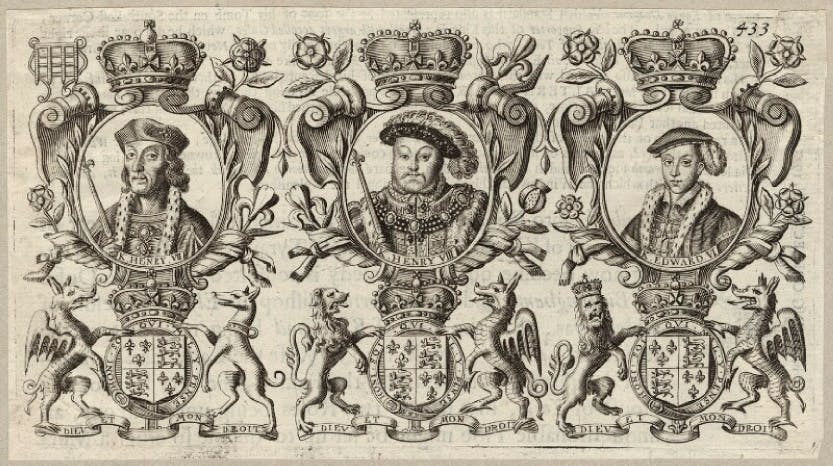 An engraving of King Henry VII; King Henry VIII, King Edward VI, which was published in 1677.
