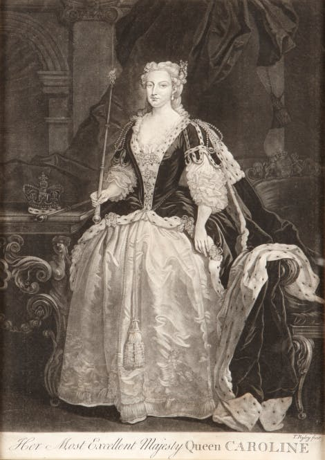 Engraving of Queen Caroline wearing coronation robes. She holds a sceptre in her right hand, and a crown in her left
