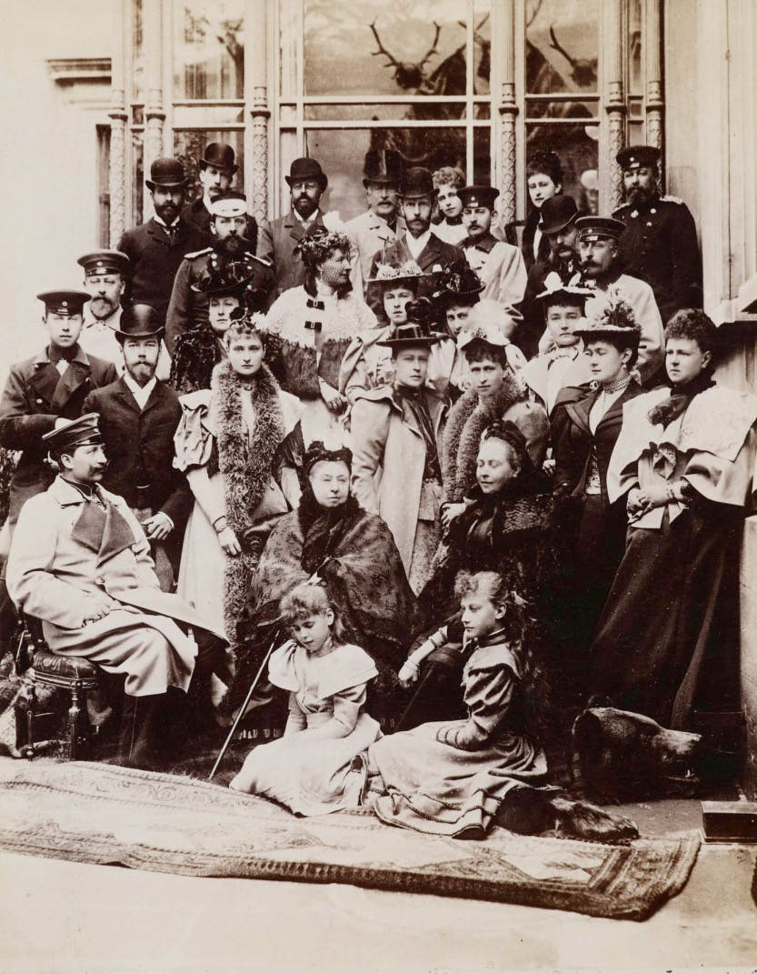 Photograph of Queen Victoria and family at Coburg on 21 April 1894, assembled for the wedding of Princess Victoria Melita of Saxe-Coburg and Gotha (1876-1936) and Ernest Louis, Grand Duke of Hesse (1868-1937), both grandchildren of Queen Victoria.
