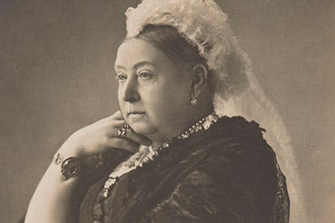 Black and white postcard depicting a portrait of Queen Victoria