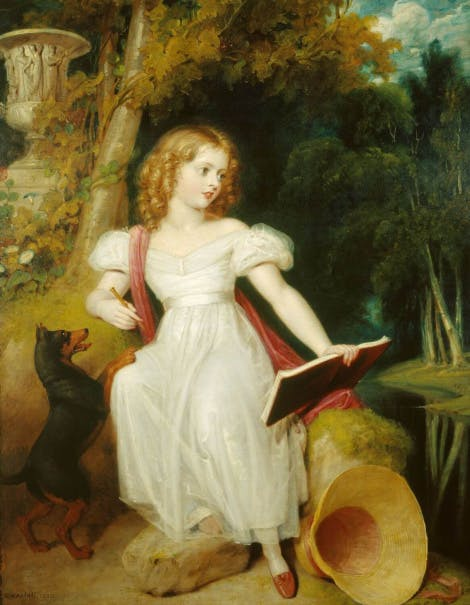 Painting of Queen Victoria as a girl in a pastoral setting.