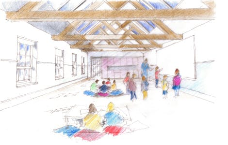 Sketch of proposed Clore Learning Centre at Hillsborough Castle.