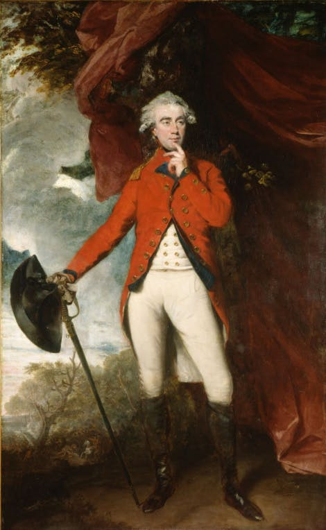 A painting of Francis Rawdon-Hastings wearing the red and white undress uniform of a colonel with the woods behind him. To his right, a fashionable red drape flows behind him.