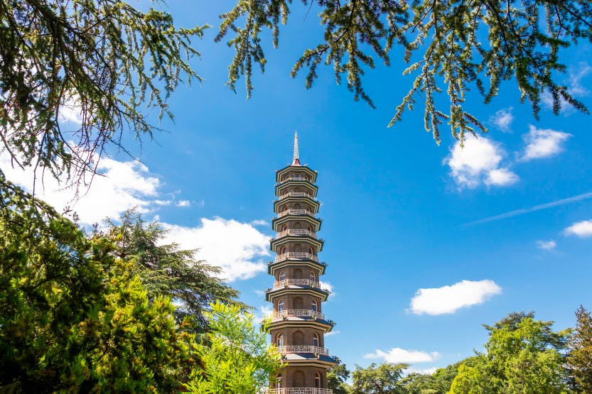 The Great Pagoda in Kew Gardens, shown in front of a bright blue sky surrounded by green trees