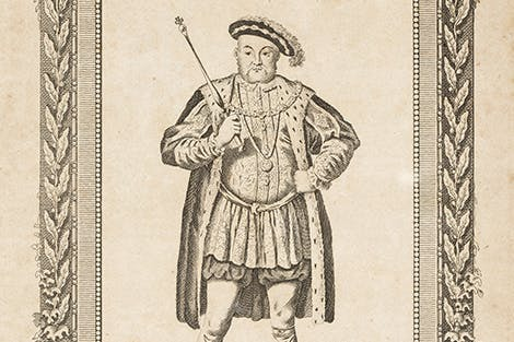 Engraving of King Henry VIII within a decorative border that includes the royal coat of arms