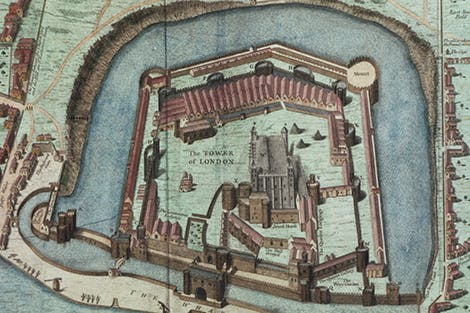 Engraving of a combined plan and bird's-eye view of the Tower of London prepared in 1597.
