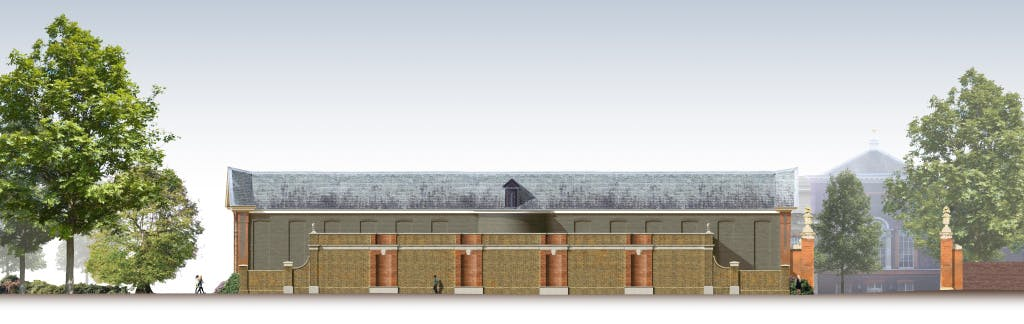 Image of how the new Orangery building will appear at the rear of the Orangery