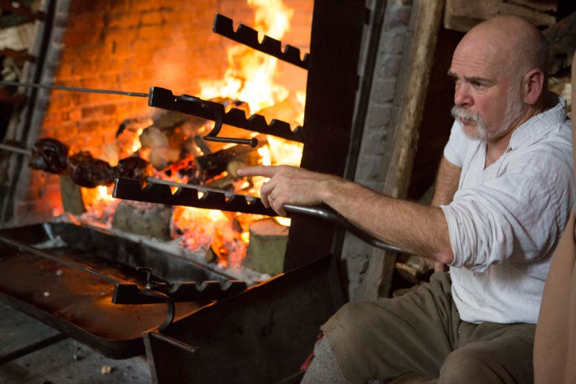 Meat Roasting in Henry VIII's Kitchens Christmas 2015