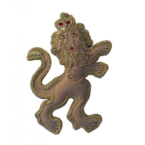 Royal Beasts Lion tree decoration beautifully handmade using metal and silk threads on a satin background