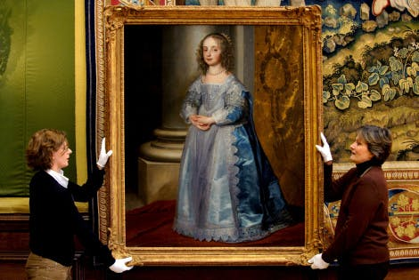 Conservator moving the Painting of Mary, Princess Royal by Van Dyck