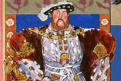 Illustration of Henry VIII at the Tower of London.