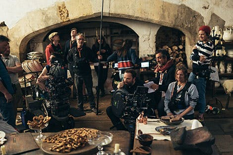 Still from The Favourite showing cast and crew