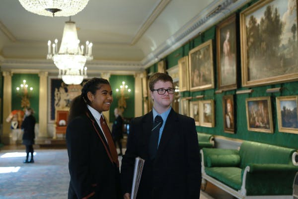 Two A-Level students explore the State Rooms at Hillsborough Castle during a school session.