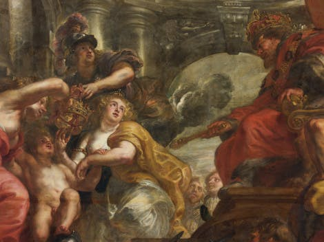 Detail view of 'The Union of the Crowns' Banqueting House ceiling by Peter Paul Rubens.