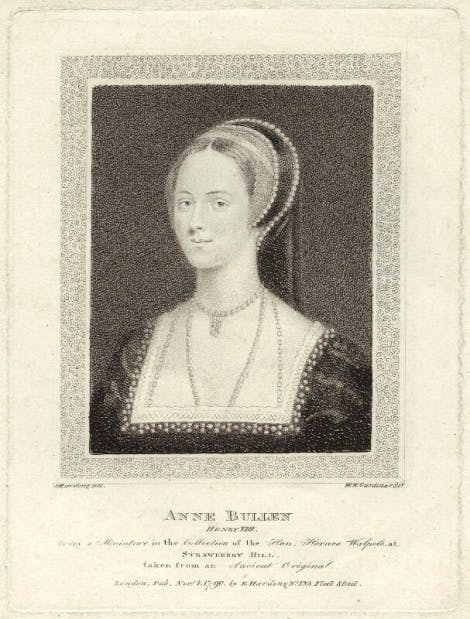 A stipple engraving of Anne Boleyn by William Nelson Gardiner