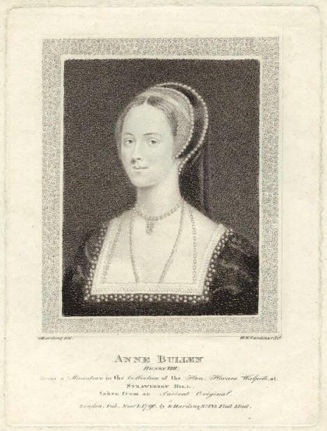 A stipple engraving of Anne Boleyn by William Nelson Gardiner