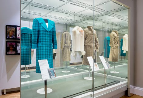 Photo of exhibits at the Diana: Her Fashion Story at Kensington Palace