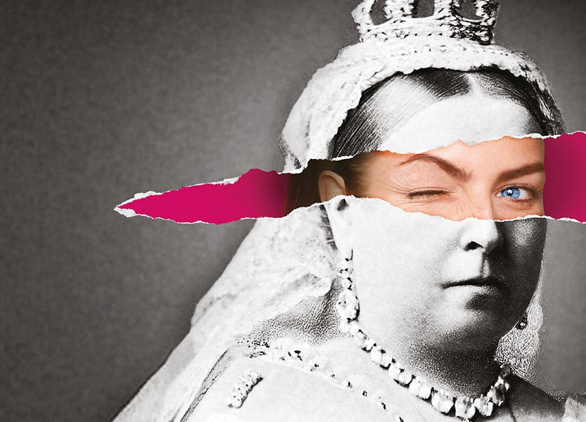 A portrait of Queen Victoria in black and white, ripped in the middle to show a young modern woman's face on a pink background. The woman is winking