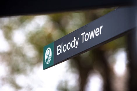 Close up of a sign showing the way to the Bloody Tower, November 2009.