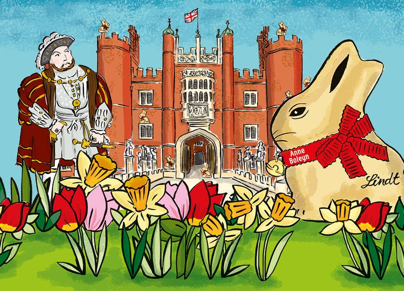 Illustration of the Tudor west gate of Hampton Court Palace with a giant gold Lindt bunny in the foreground. Henry VIII stands on the left of the image
