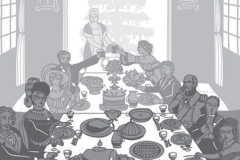 Illustration of a Victorian dinner party