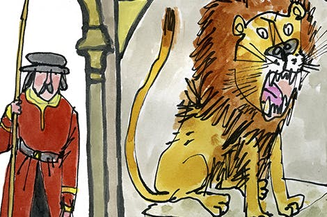 Illustration of a Lion and Yeoman Warder at the Tower.