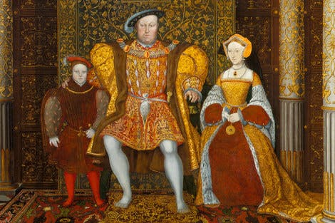 Portrait of The Family of Henry VIII c. 1545. Henry VIII sits under a canopy of state surrounded by Prince Edward, Jane Seymour, Princess Mary and Princess Elizabeth.