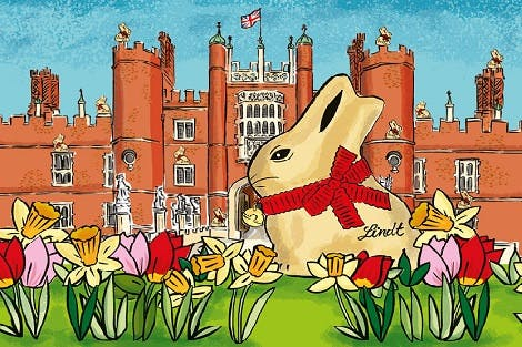 Illustration of Lindt Gold Bunny outside Hampton Court Palace