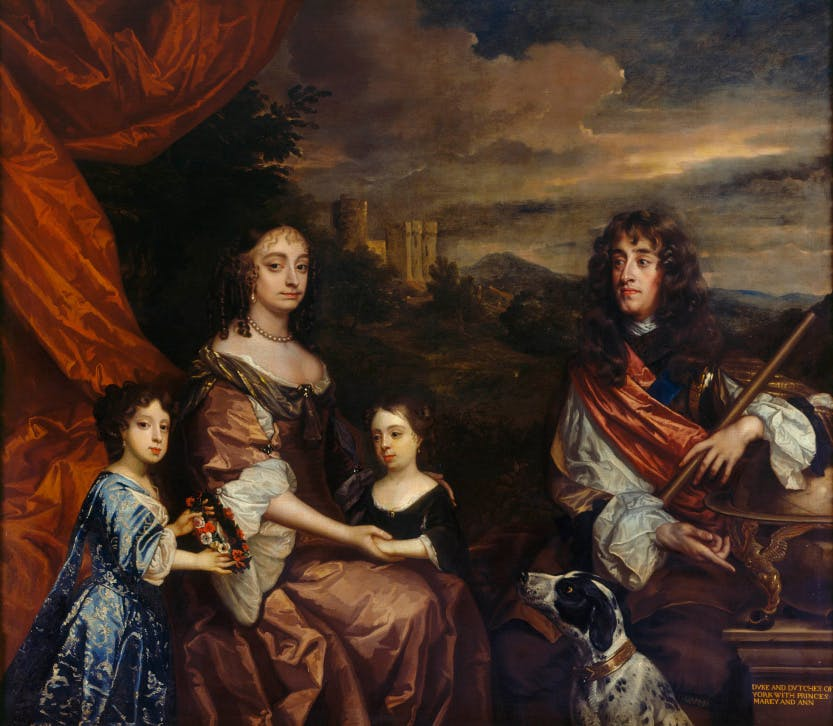 A landscape portrait of James II with his family, Anne Hyde, Princess Mary and Princess Anne.