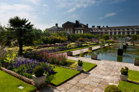 The Sunken Garden looking south west across the pond to the East Front of the palace.