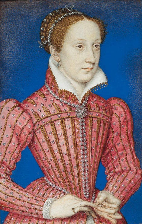 Portrait of Mary, Queen of Scots, three-quarter length, blue background behind her.