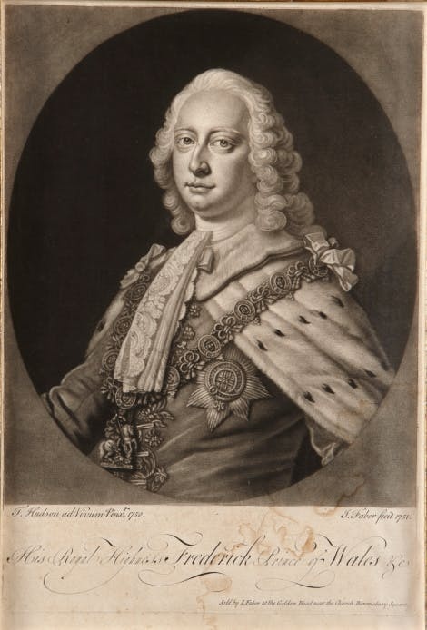 Engraving of Frederick, Prince of Wales, wearing ceremonial robes with the Garter Star