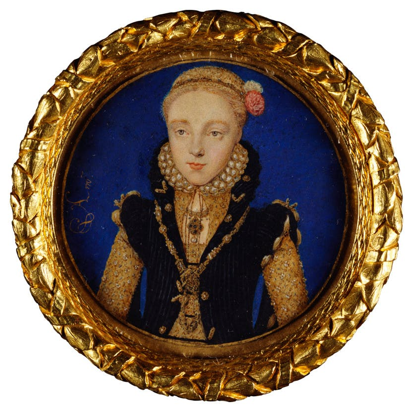 Portrait of a young Elizabeth I - miniature in a circular frame