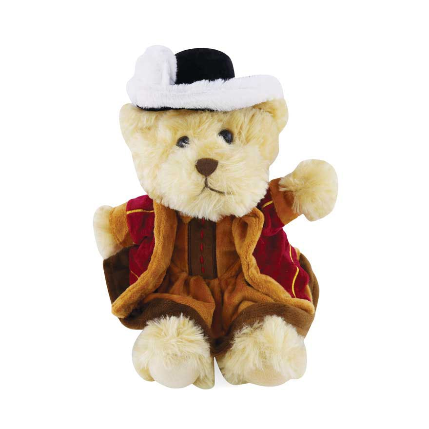 Face on image of a Henry VIII dressed up brown teddy bear on a white background,.