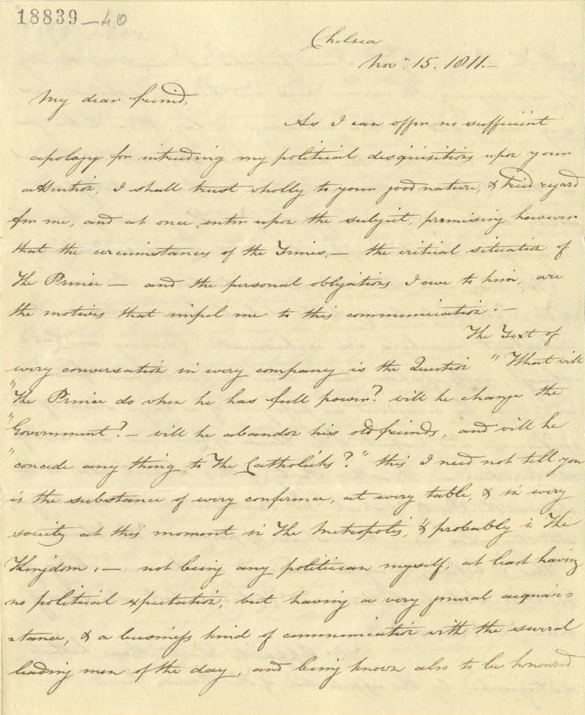 Letter from Lord St Vincent to Colonel John McMahon about George III's health