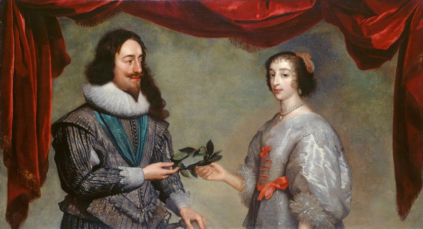 A portrait of Charles I and Henrietta Maria circa 1630-32 by Daniel Mytens