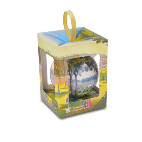 This pretty decoupage bauble features an 18th century print of Kensington Palace and Kensington Palace gardens.