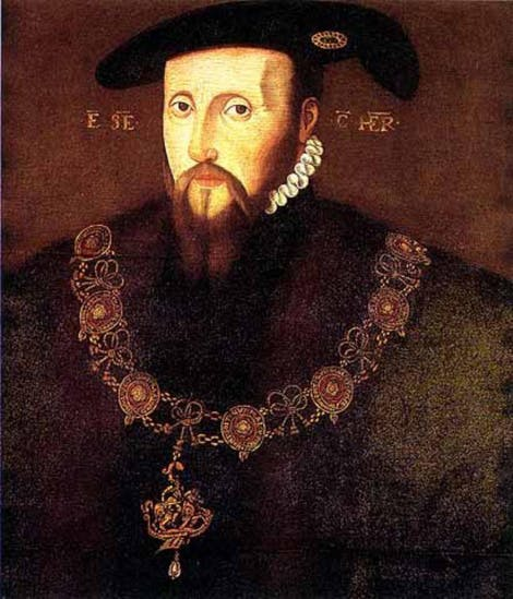 Portrait of Edward Seymour wearing the chain of the Order of the Garden, a dark cloak and a black hat.