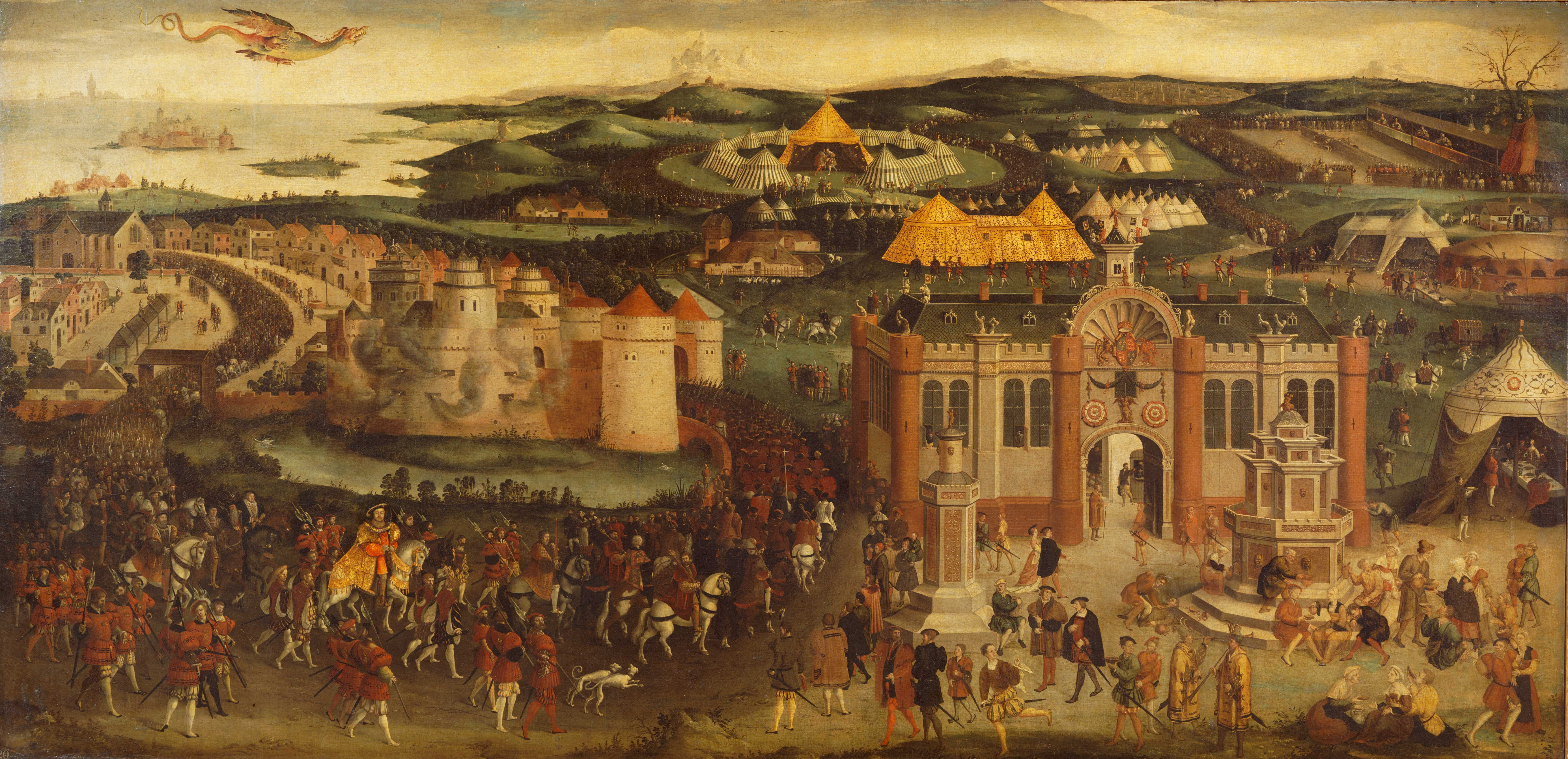 The Field of the Cloth of Gold depicting the meeting between Henry VIII and Francis I in 1520.