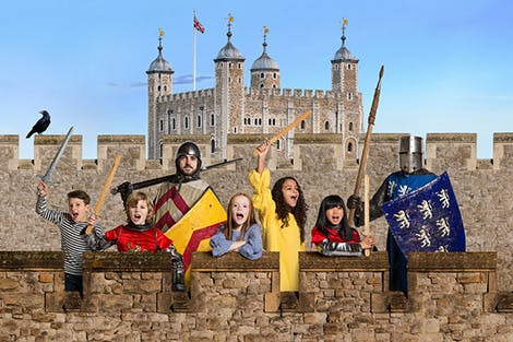 Children dressed as knights at the Tower of London