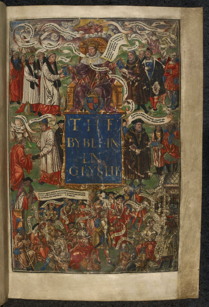 Colourful title page of a bible with various clergy members dressed in red, surrounding Henry VIII who sits on a high throne.