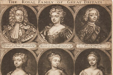 Oval portraits depicting King George II, Queen Caroline and their children.