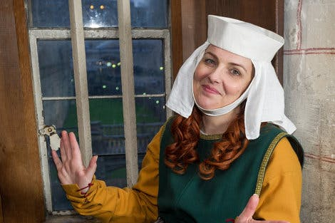 Actress in medieval costume as Lady Margery for The Lady's Royal Arrivals Digital Mission