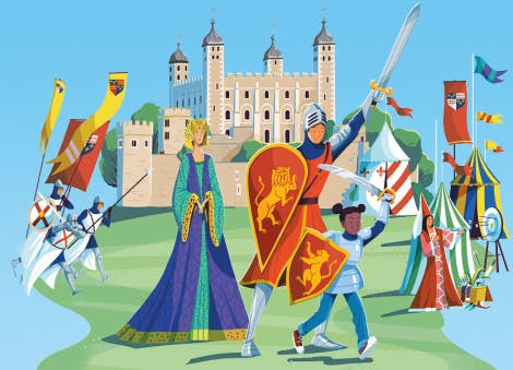 Illustration of the Tower of London with medieval knights and a maiden in the foreground.