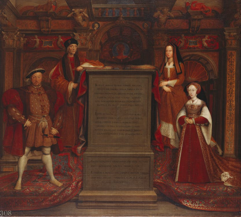 Within a richly decorated Renaissance interior, Henry VII (1457-1509) and his son Henry VIII (1491-1547) stand to the left of a central sarcophagus inscribed with Latin verses celebrating the Tudor dynasty; their queens, Elizabeth of York (1465-1503) and Jane Seymour (1509-1537) stand on the other side.