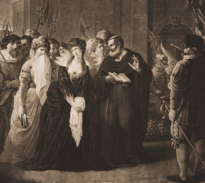 An engraving by Valentine Green (1739-1813) from the drawing by Johann Gerhard Huck (c1759-1811) showing Lady Jane Grey (1537-54) as she walks to the block accompanied by her ladies and soldiers with pikes. She looks to the left where the body of her husband Lord Guildford Dudley is carried away following his execution. On her right, a friar holds an open book and a rosary. Lady Jane Grey, also known as the Nine Days' Queen, was imprisoned in the Tower of London and executed in February 1554 having been found guilty of high treason.  Plate eight from the twelve original drawings by Johann Gerhard Huck. The series of drawings is entitled 'Acta Historica Reginarum Angliae'.