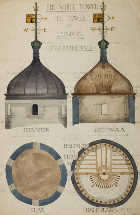 Survey of the Flamsteed Turret. H.M. Office of Works, pen and wash on paper